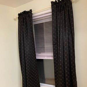 "Kohl's Other - Blackout black 63"" polka dot curtains"